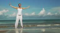 Yoga at the beach (HD 1080) video