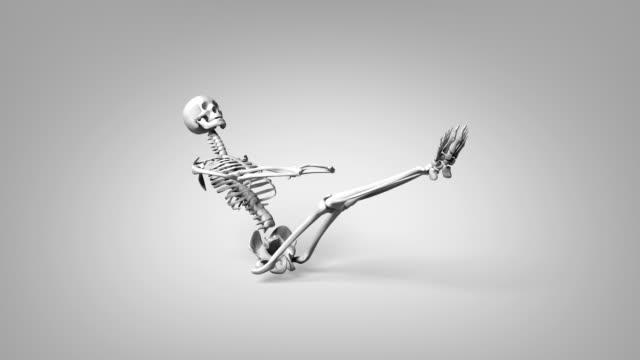 Yoga Floating Boat Pose Of Human Skeletal video