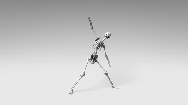 Yoga Triangle Pose Of Human Skeletal video