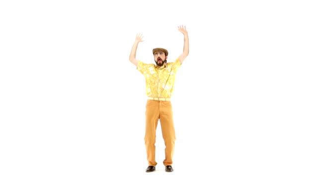 Young 70s bearded man dances on 103 bpm music track video