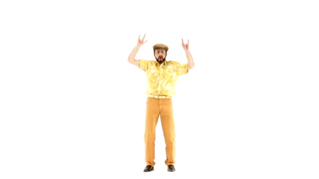 Young 70s bearded man dressing hat and yellow floral orange vintage shirt dance on 103 bpm music track side view - isolated-on-white HD video footage video
