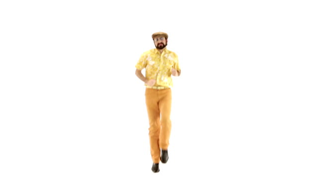 Young 70s bearded man dressing hat and yellow floral orange vintage shirt jump on-the-spot on 103 bpm music track - isolated-on-white HD video footage video