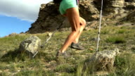 Young active female run outdoor in the sunny summer. video