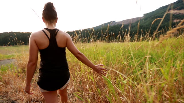 Young adult female hiker running hand and fingers through tall grass video