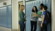 Young adult females bullying another student at school video