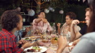 Young adult friends eat and drink at an outdoor dinner party video