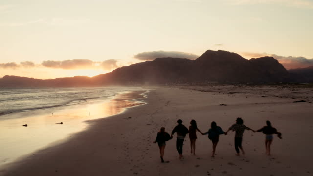 Young adult hipster friends enjoying the beach at sunset video