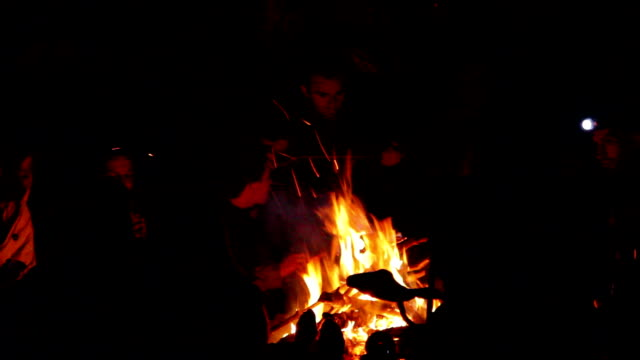Young adults sitting around a camp fire video