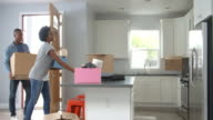 Young African American couple moving in to a new home video