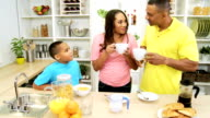 Young African American Family Breakfast Together Home video