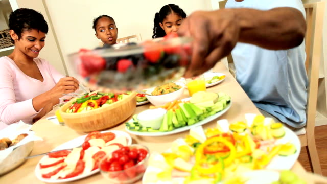 Young African American Family Healthy Eating video