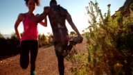 Young African-descent couple warming up before jogging outdoors video