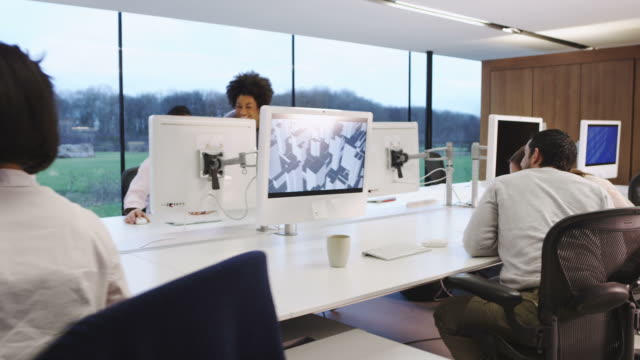Young and bright business offices video