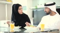 Young Arab Couple Eating Heatlhy Food at Home video