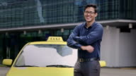 Young asian man working as taxi driver, car, cab video