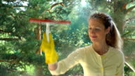 Young attractive woman cleaning a window with a special detergent spray and a brush. Dolly shot. video