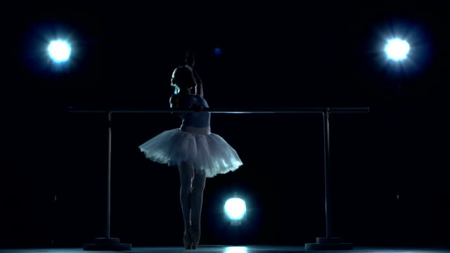 Young ballerina standing near barre video