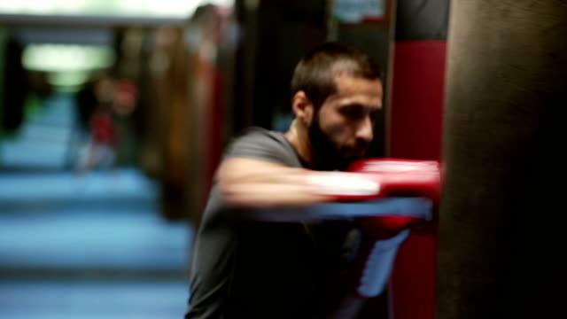 Young beard boxer training at punching bag video HD video