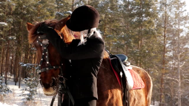 Young beautiful girl jockey and horse in winter forest video