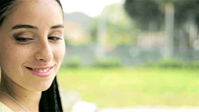 HD Young beautiful girl outdoor portrait video