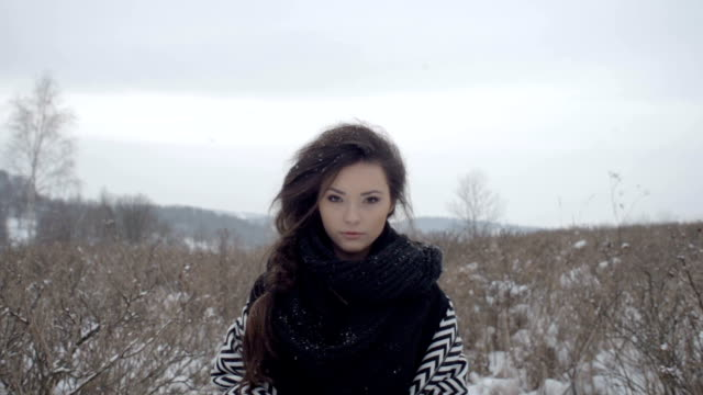 Young beautiful model posing over winter forest. video