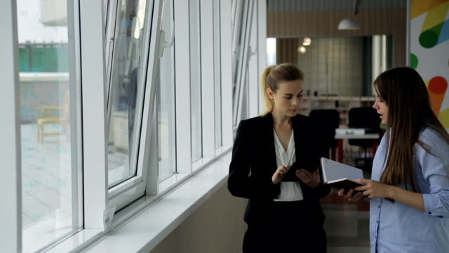 Young beautiful woman head of office listens to employee on work carried out near a window video