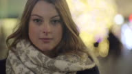 Young beautiful woman staring video