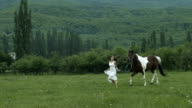 Young Beauty Running With A Horse video