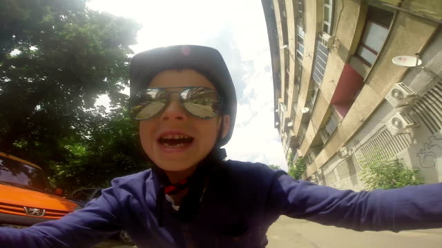 Young biker have fun video