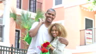 Young black couple with reusable grocery bags video