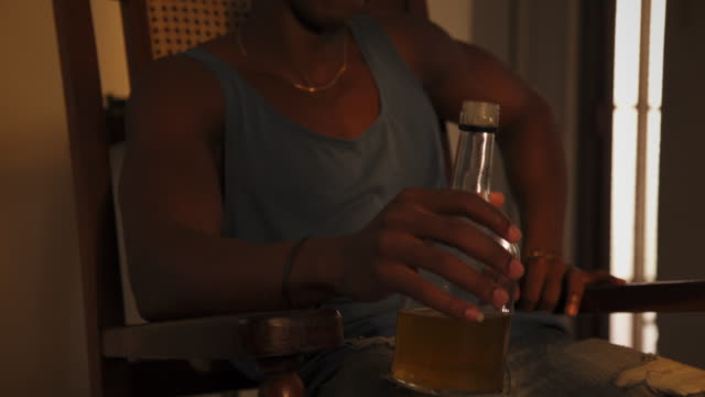 Young Black Man Drinking Alcohol Drunk Husband At Home video