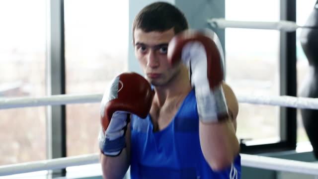 Young boxer looking at camera video