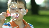 Young boy blowing bubbles video