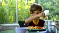 Young boy eating lunch / supper. 6 year old kid eating video