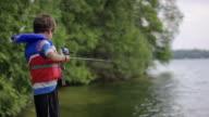 Young boy fishing on lake video