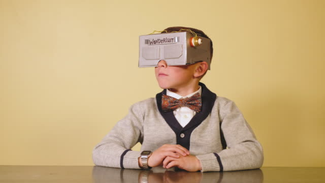 Young Boy Nerd with Homemade Virtual Reality Headset video