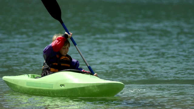 HD: Young Boy Practicing Paddling In A Kayak video