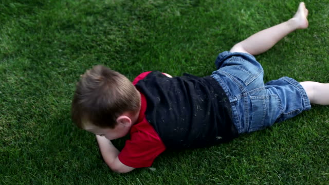Young boy rolling in grass video