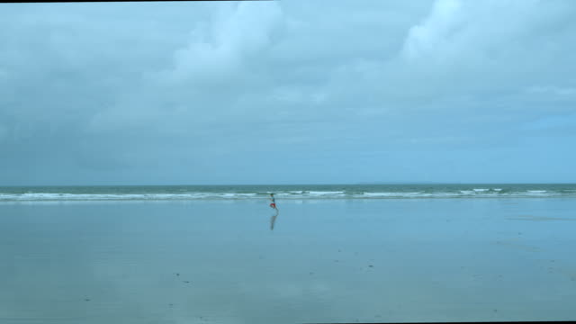 A young boy running on a beach early morning in slow motion. video
