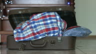 Young boy's nap inside suitcase. video