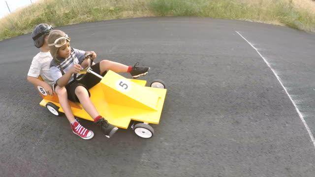 Young Boys Racing Homemade Soap Box Race Car video