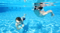 Young boys swimming underwater in pool video