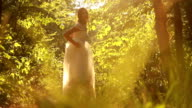 Young Bride Turning Smiling Forest Background HD video