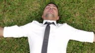 Young business man lying on grass and relaxing in green park video