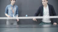 4K: Young Business People Playing Table Tennis In Their Office. video
