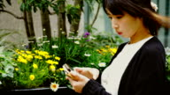 Young business woman with smartphone outside video