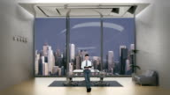 Young Businessman Reading in Office Room with City Skyline video