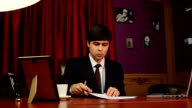 CEO, young businessman signing papers, contract, agreement video