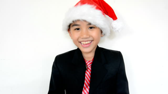 Young businessman with santa hat video