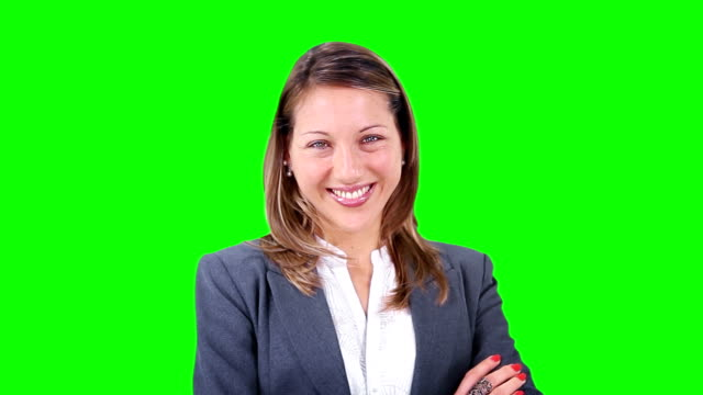 Young businesswoman smiling. Chroma key. Close-up. Success. video